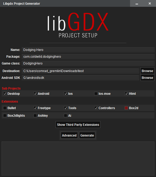 Gdx Project Setup Screen